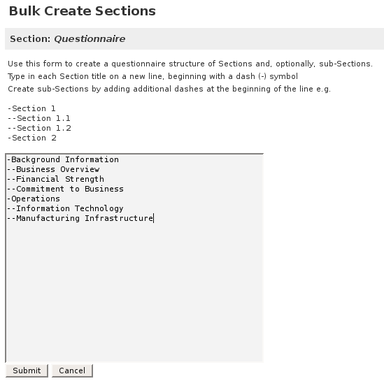 Screenshot showing how sections can be created en masse
