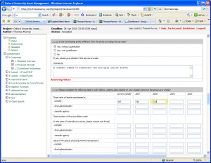 Page used by suppliers to input rfp answers which auto save